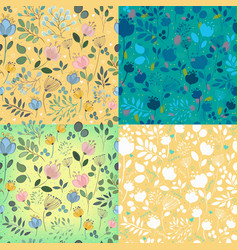 Floral decorative seamless patterns vector