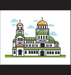 Green christian church vector