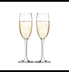 Champagne flutes two narrow glasses vector