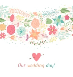 Wedding invitation card with pretty stylized vector