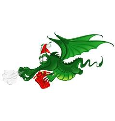 Cheerful dragon in santas hat vector