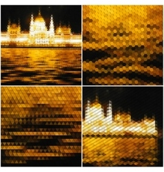 Night city landscape collection of abstract vector