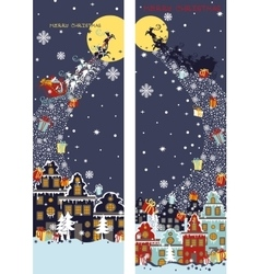 Christmas vertical banner setsanta claus coming vector