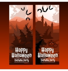 Two vertical cards with the spooky forest vector