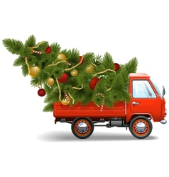 Red christmas truck vector