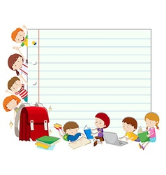 Line paper with children reading book vector