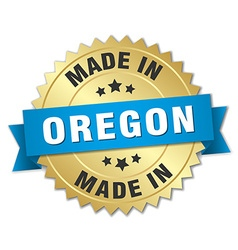 Made in oregon gold badge with blue ribbon vector