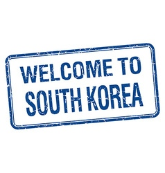 Welcome to south korea blue grunge square stamp vector