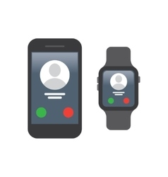 Smartphone connect to smart watch vector