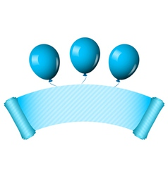Blue scroll with balloons vector