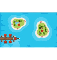 Aerial view of two islands in the sea vector image