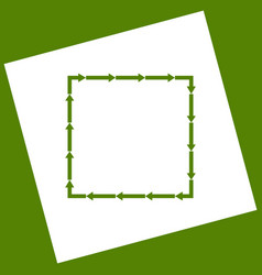 Arrow on a square shape white icon vector