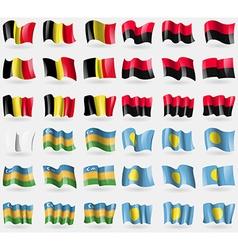 Belgium upa karakalpakstan palau set of 36 flags vector