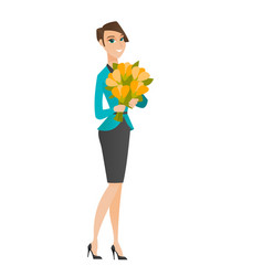 Business woman holding a bouquet of flowers vector