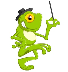 Cartoon frog holding magic wand vector image