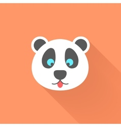 cute panda icon with long shadow vector image vector image