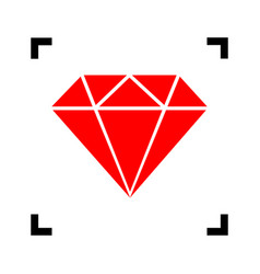 Diamond sign red icon inside vector