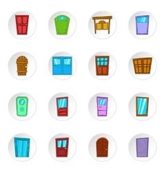Door icons cartoon style vector