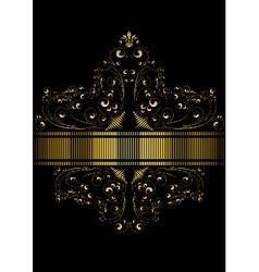 Dotted golden ribbon framed pattern of golden curl vector