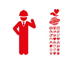 engineer icon with dating bonus vector image vector image