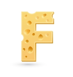 F cheese letter Symbol isolated on white vector image