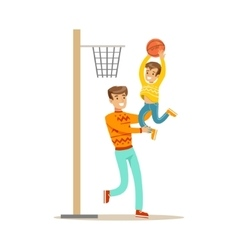 Father and son playing basketball happy family vector