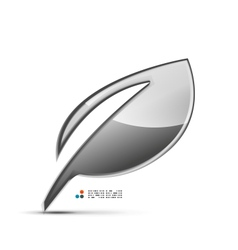 Glossy metallic leaf 3d concept icon vector image