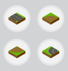 Isometric road set of downward way sand vector