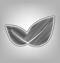 Leaf sign pencil sketch vector