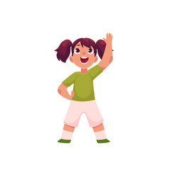 Little girl with ponytails doing morning exercises vector