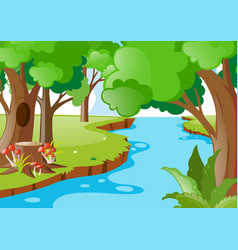 Nature scene with river in the forest vector