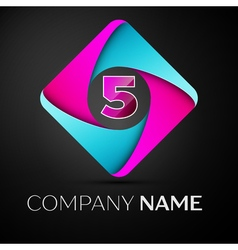 Number five logo symbol in the colorful rhombus vector image vector image