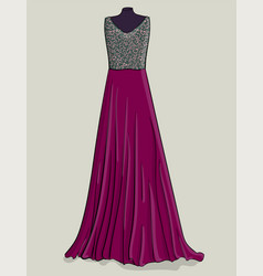 purple long dress with lilac lace on the corset vector image vector image