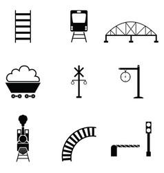 railway icon set vector image