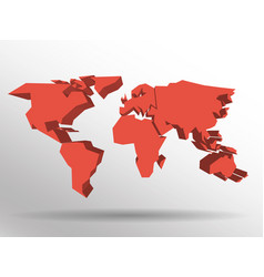 Red 3d map of world with dropped shadow on vector
