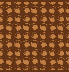 seamless brown pattern with kettle vector image vector image