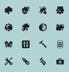 Set of 16 editable toolkit icons includes symbols vector