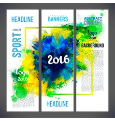 Signs 2016 on watercolor ink background of green vector image