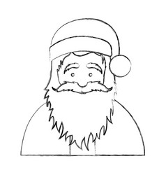 silhouette blurred half body cartoon santa claus vector image