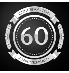 Sixty years anniversary celebration with silver vector