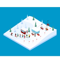 Skiing mountain isometric landscape vector
