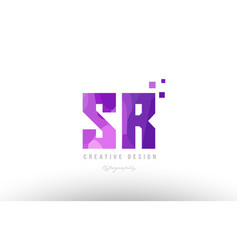 Sr s r pink alphabet letter logo combination with vector