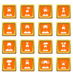stress icons set orange vector image