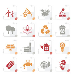 stylized ecology environment and recycling icons vector image
