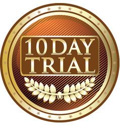 Ten day trial gold icon vector