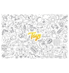 Toys doodle set with lettering vector image