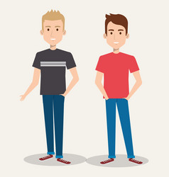 two friendly man students friends together young vector image