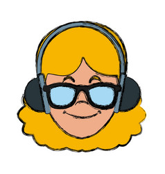 woman with music headphones vector image vector image