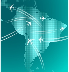 Map of south america with trace of airplanes vector