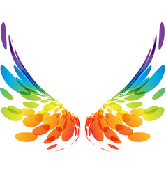 Pair colorful wings on white vector